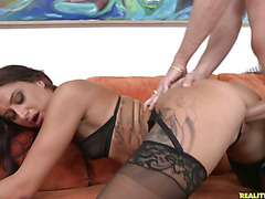 Alby gets her sweet pussy pounded from behind.
