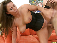 Stacie rides reverse cowgirl and gets pounded in wheelbarrow and doggystyle positions.