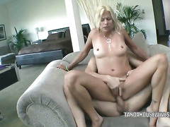 Mature blonde Payton Leigh gets her used pussy pounded hard with a stiff cock