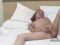 Horny blonde housewife Penelope Sky fingers her ass while fucking her twat with a toy