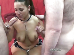 Petite and busty housewife Lexxxi Lockhart is in a bikini and blowing two dudes
