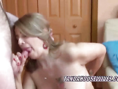 Buxom Latina housewife Sandie swallows a cock