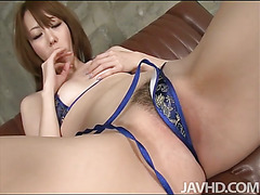 Misato Sakurai in a string bikini is doing an interview when her interviewer decides to test her depth of sexuality and she fingers and toys her tits and pussy