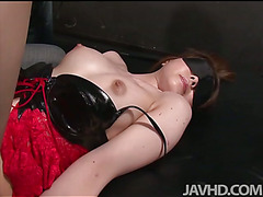 China Mimura is bound and toyed while blindfolded before having her furry muff pounded.