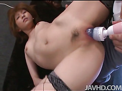 Jizz eating  Rei Sasaki is picked up and held upside down and fucked