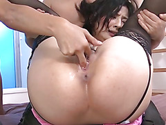 Two horny guys tag team sexy Megumi Haruka  filling her mouth and pussy with hard dicks and cum.