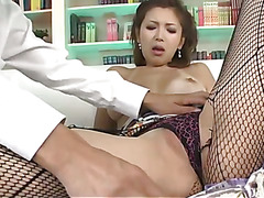 Japanese Mai Kuroki is dressed up and ends up staying home to gobble and fuck a hard dick