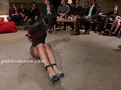 Brunette sexy babe tied and immobilized in front of the public gets spanking lessons