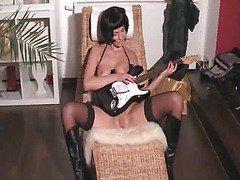 Hot Girl Masturbating With Guitar Then Fucking