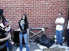 Amateur Girls Give Handjobs In Money Talks Alley Stunt