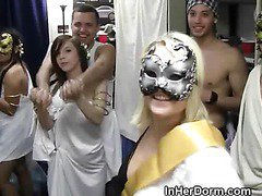 College Coeds Host Large Dorm Room Toga Party