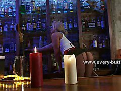 Sexy blondes working in bar playing caught and punished in rough anal threesome sex