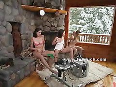 Lesbian babes playing with large fucking machines in a hollyday house craving for pleasure