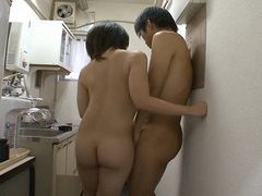 Japan nudist office lady kisses and jerks off coworker