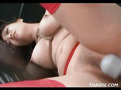 Roped Asian Takes Cock