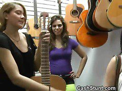 Brunette Flashes Tits And Pussy In A Music Store