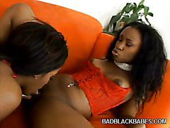Horny Ebonies Sharing a Dildo