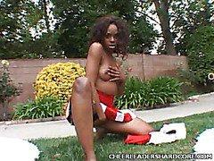 Clit Buffing Ebony Cheerleader