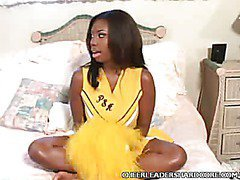Sexy Ebony Cheerleader Striptease