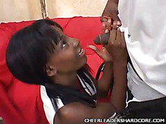 Petite Ebony Cheerleader Blowjob