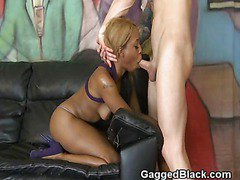 Black Ghetto Bitch With White Cock Stuffed Down Her Throat
