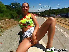 Wild Brunette Flashes Big Tits And Pussy In Public