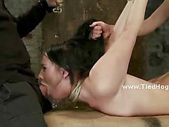 Slut forced to suck cock and punished in deepthroat and fetish brutality sex