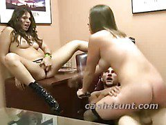 Office slut rents out her pussy to fuck as another chick watches