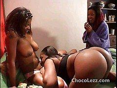 Black lesbian sleepover pussy party wild threeway fun