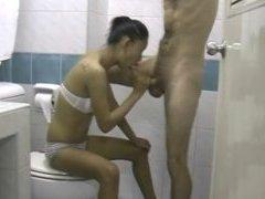Skinny Asian Babe Sucking Hard Cock