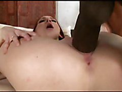 Tight redhead stretched by black cock
