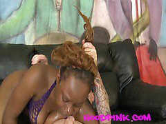 Ebony chick used like a piece of meat as she chokes and gags on cock
