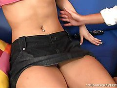 Blond Cougar Teaches Coed About Oral Sex