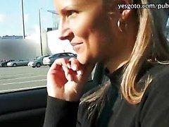 Sexy European Holly gets convinced into having sex in public