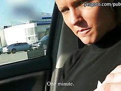 Amateur Holly flashes her tits and gets banged in the car