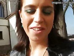Horny amateur Katarina blowjobs hard dick in public for money