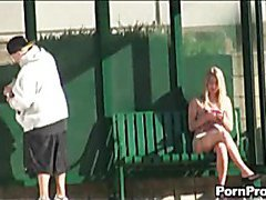 Blond slapped with a used dildo