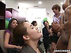 Office girls enjoy male strippers