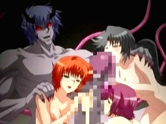 Hentai girls hard drilling by monster tentacles and cum allbody