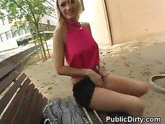 Blonde Amateur Finger Banged On Public Bench