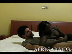 Lusty African amateur fucks in doggystyle with white cock