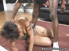 Black Ghetto Slut Gets Throat Pummeled By Dark Cock