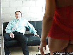 Blonde College Babe Finds Sugar Daddy For Help With School Finances and She Helps His Cock
