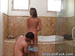Hot Brunette Ex Girlfriend Gets Eaten Out In Bathroom