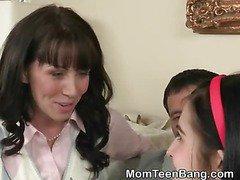 Brunette MILF Teaches Hot Teen How To Suck Dick
