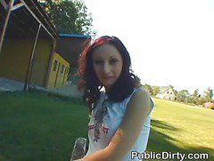 Brunette Amateur Finger Fucked Outdoors In Public