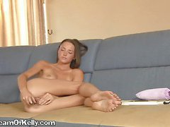 A Lovely Brunette Showing Her Gratitude To A Dildo