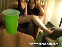 4 smoking hot girls partying and having groupsex