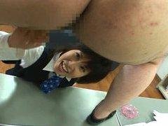 Dominant Japanese office lady teases CFNM masturbate