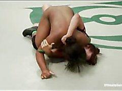 Black and white girls wrestling